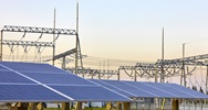 Solar PV panels near a grid
