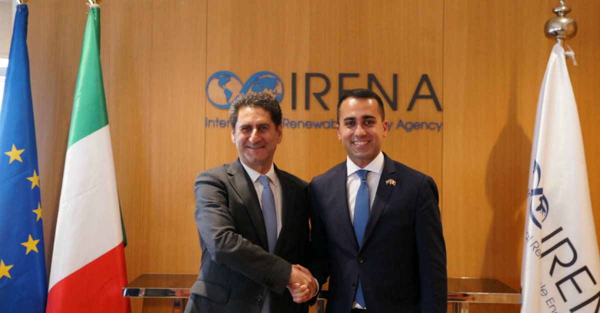 IRENA Director-General La Camera and Deputy Prime Minister of Italy Di Mayo